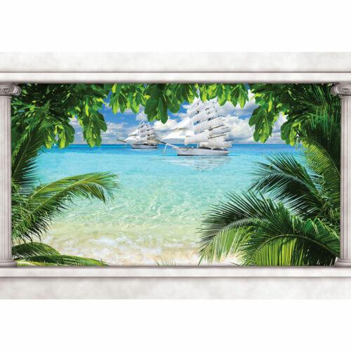 1648 Fototapete Schiffe Palmen Strand Wasser Paradies Säulen liwwing no