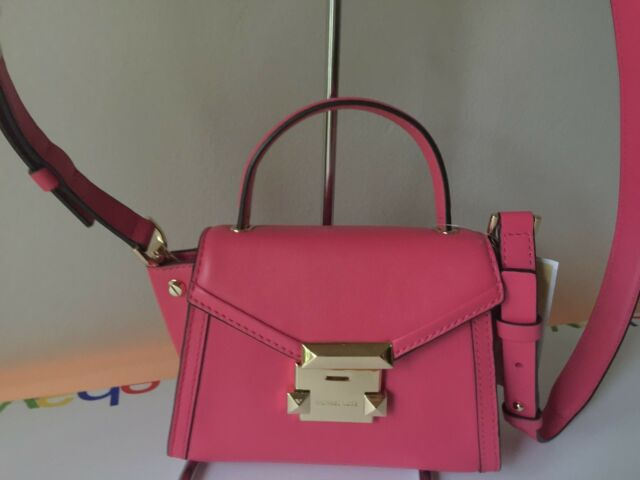 5289a486e8b3 Michael Kors Whitney Mini Messenger Bag Rose Pink Leather Purse | eBay