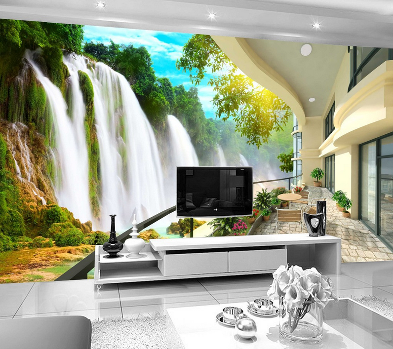3D Wasserfall Balkon 84 Tapete Wandgemälde Tapete Tapeten Bild Familie DE Summer | Hochwertige Materialien  | Kostengünstig  | Elegant Und Würdevoll