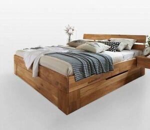 Massivholz Doppelbett 200x200 mit 2 Schubladen Bett Wildeiche geölt ...