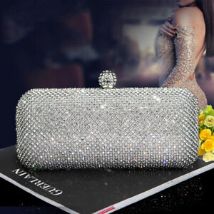 Gorgeous-Silver-Diamond-Crystal-Evening-bag-Clutch-Purse-Party-Prom-Wedding-UK
