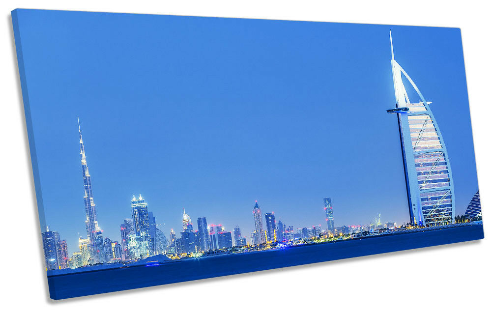 Dubai Skyline Blau Night Picture PANORAMIC CANVAS WALL ART Print