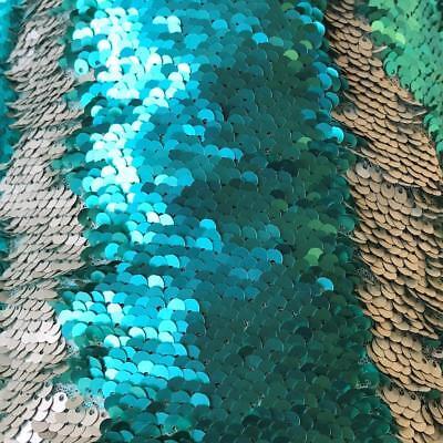 "Reversible Mermaid Sequin Fabric Matt Aqua & Silver 49"" wide sold by the metre"