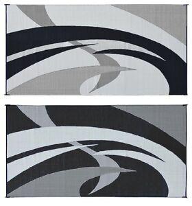 Image Is Loading RV Patio Mat 9x18 Black White Reversible Trailer
