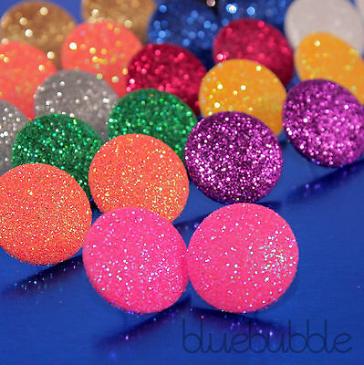 FUNKY LARGE 20mm ROUND GLITTER STUD EARRINGS RETRO KITSCH 70s 80s DISCO SPARKLE