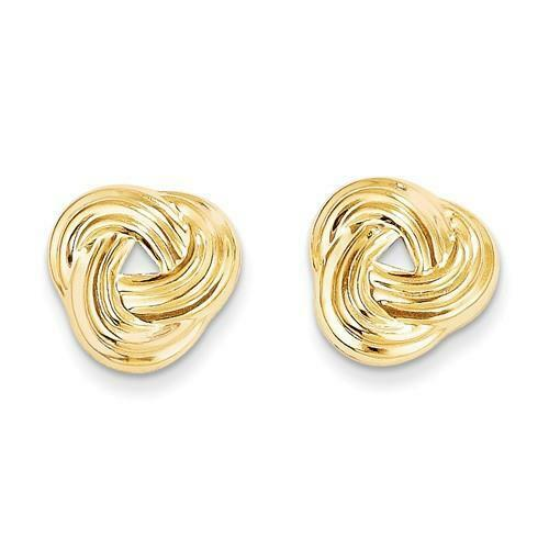 14k Solid Yellow Gold Love Knot Cable Design Stud Post Back Earrings Gift