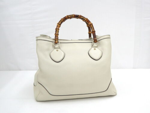 Used Gucci Diana Bamboo Tote Bag Leather White W3… - image 1