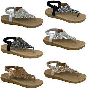 Ladies-Flat-Sandals-Womens-Diamante-Sling-Back-Toe-Post-Shoes-Summer-Fashion-New