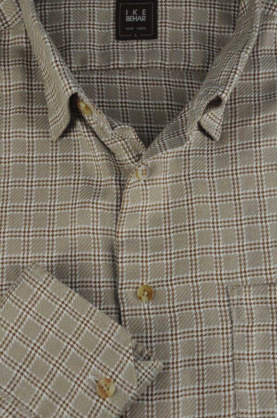 Ike Behar Men's Cafe Brown & White Geometric Cotton Casual Shirt L Large