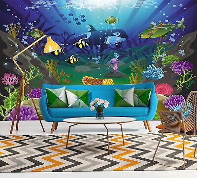 3d Under The Sea Wall Mural Ocean Scene Photo Wallpaper Kids Bedroom Home Decor Ebay