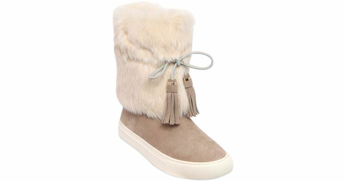 NIB New Tory Burch Anjelica -Natural- Ankle Boots Size 10 Suede Rabbit Fur