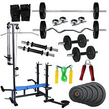 Fitfly Multi Gym 20 in 1 Bench 100 Kg Weight With With 5 Ft Plain 3 Ft Curl Rods