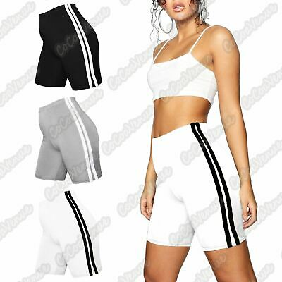 New Ladies Side Double Stripe Active Gym Cotton Cycling Shorts Summer Hot Pants