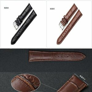 Unisex-High-Black-Steel-Men-Brown-Tang-New-Leather-Genuine-Watch-Strap