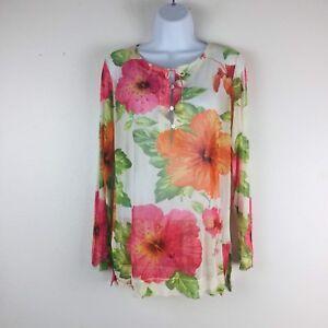 Tommy-Bahama-Womens-Silk-Blouse-Tunic-Medium-Floral-Beaded-Sheer-Long-Sleeve