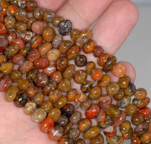 """7-8MM NATURAL RED AGATE GEMSTONE PEBBLE NUGGET LOOSE BEADS 16/"""""""