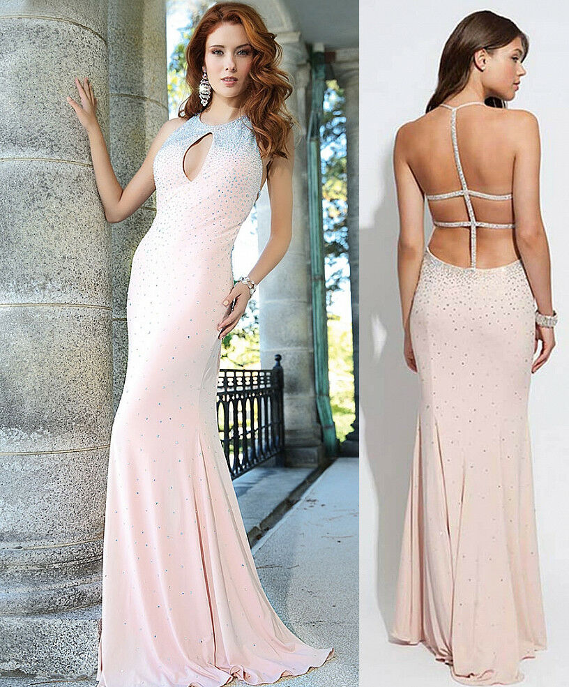 Jovani bluesh Sleeveless Crystal Embellished bluesh Jersey Dress Gown
