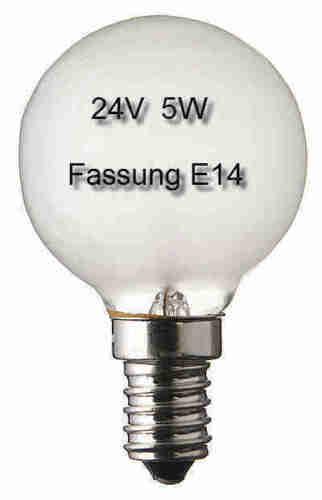 3x Glühlampe Glühbirne Leuchte Lampe Ersatz E14 Tropfen 24V 5W matt 497006