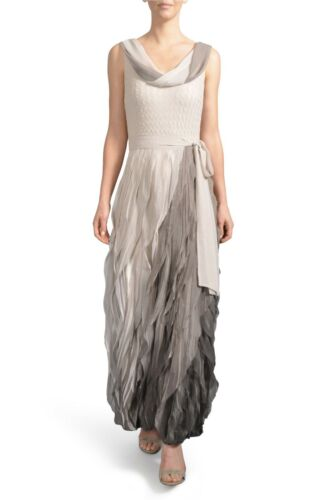 $600 KOMAROV Ombré Cowl Neck Ruffle Gown NEUTRAL SMOKE OMBRE BEAUTIFUL FEMININE