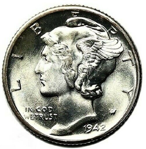 1942 D Mercury Dime Brilliant Uncirculated 90% Silver Coin Gem BU with FSB