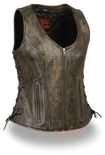 Ladies BROWN DISTRESSED Leather Vest w Side Lace Zipper Front Closure Gun Pocket