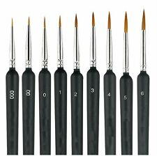 9X Miniature Paint Brush Set Weasel Hair Brush Fine Detail Art Nail Oil Painting