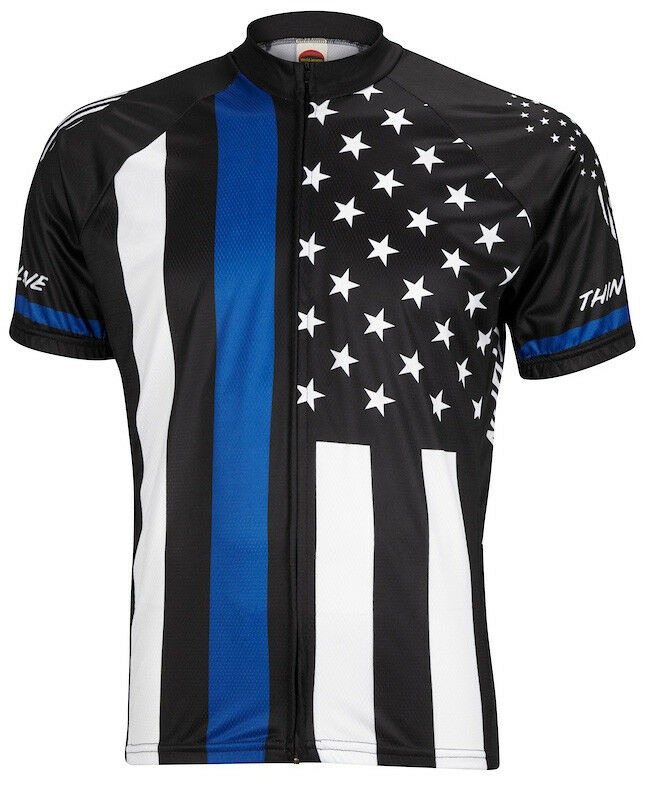 World Jerseys Thin  bluee Line Mens Cycling Jersey bike bicycle  just for you