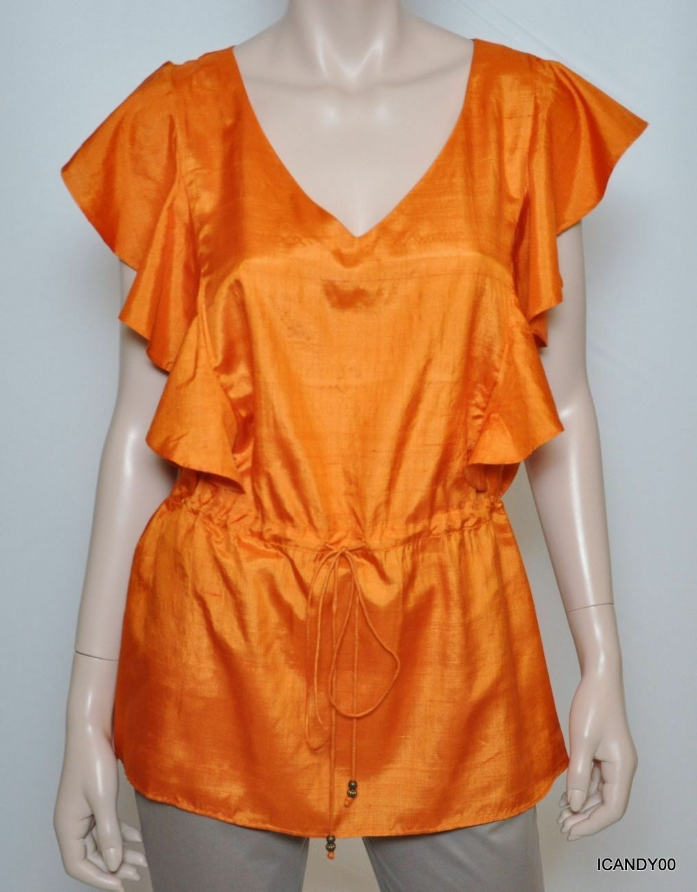 Nwt Lauren Ralph Lauren Drawstring Silk Cascade Sleeve Blouse Top Shirt Orange L
