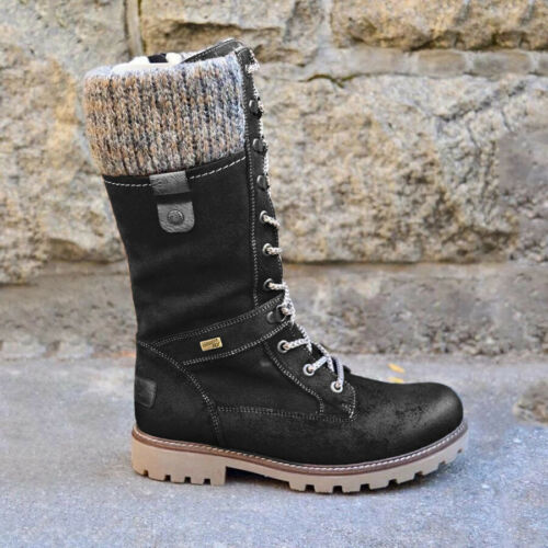 Winter Women Lace Up Mid Calf Boots Combat Booties Knit Flat Shoes Work Daily US