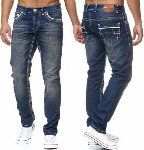 Amica Jeans Uomo Pantaloni used look streetwear Skinny Pant Spessore Cuciture Blu 9580