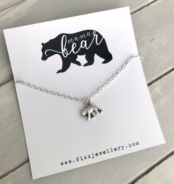 """mama Bear"" Silver Bear 18"" Message Card Necklace New Mother Gift For Mum Mom"