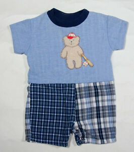 Cach Cach Baby Boys Size 6m Outfit Baseball Buttons Teddy