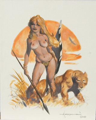 "MIKE HOFFMAN original art, JUNGLE GIRL,8.5""x11"",2005, Nude woman w Lion,on board"
