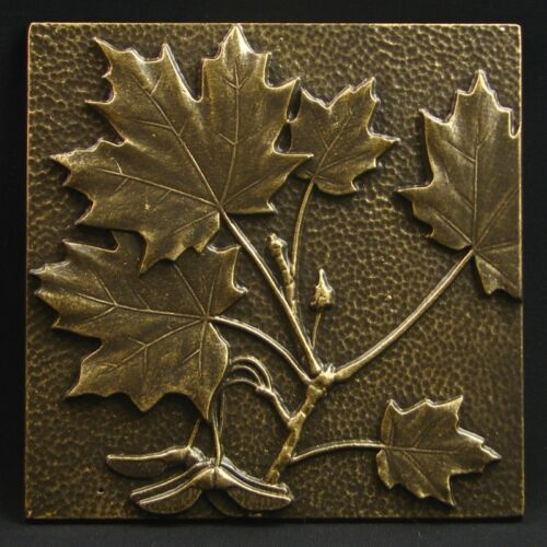"Arts and Crafts Bronze Tone Maple Leaf Tile by Whitehall 8/"" x 8/"""