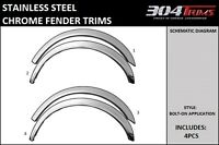 Fits Chevy Camaro Coupe 1993-2002 Bolt-on Stainless Chrome Fender Trims 4pcs