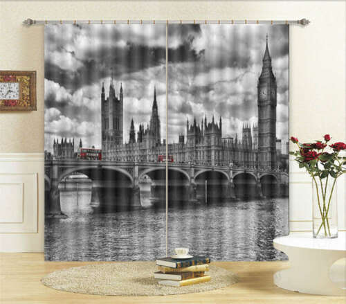 Noted Building Big Ben 3D Curtain Blockout Photo Printing Curtains Drape Fabric