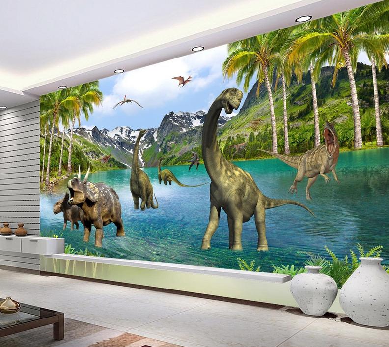 3D Dinosaurier-Berg See 854 Tapete Wandgemälde Tapete Tapeten Bild Familie DE