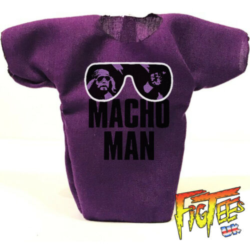 "MACHO MAN CLASSIC 7/"" Elite Di Base Retrò wrestling action figure T-shirt"