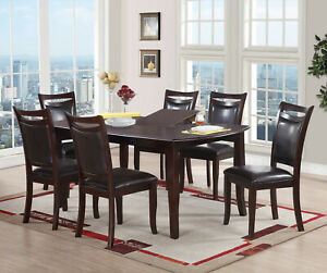 Details about Dining Room Furniture 7pc Set Dark Brown Cushion Seat back  Chairs Dining Table