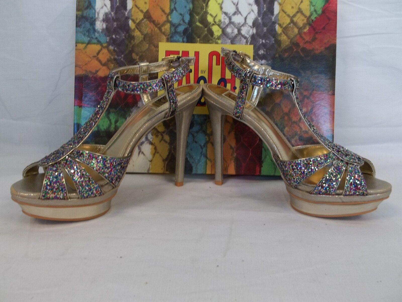 Falchi Größe 6.5 Natalie M Natalie 6.5 Light Gold Multi  Open Toe Heels New Damenschuhe Schuhes 29a9cd
