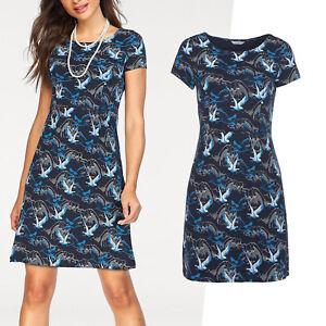genial-Marken-Kleid-Gr-50-52-Sommerkleid-Jerseykleid-Shirtkleid-blau
