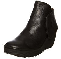 Fly London Yogi Black Leather Wedge Ankle Boots Size Eu 39/40 Us 8-9