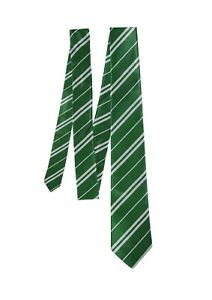 Children Evil School Wizard Stripe Green Neck Tie Kids Book Week Day Fancy Dress