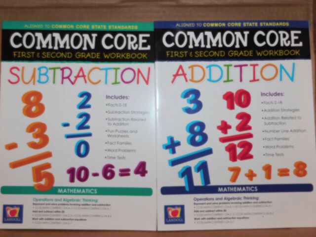 Common Core First & Second Grade 1 2 Math Workbook Addition Subtraction  School