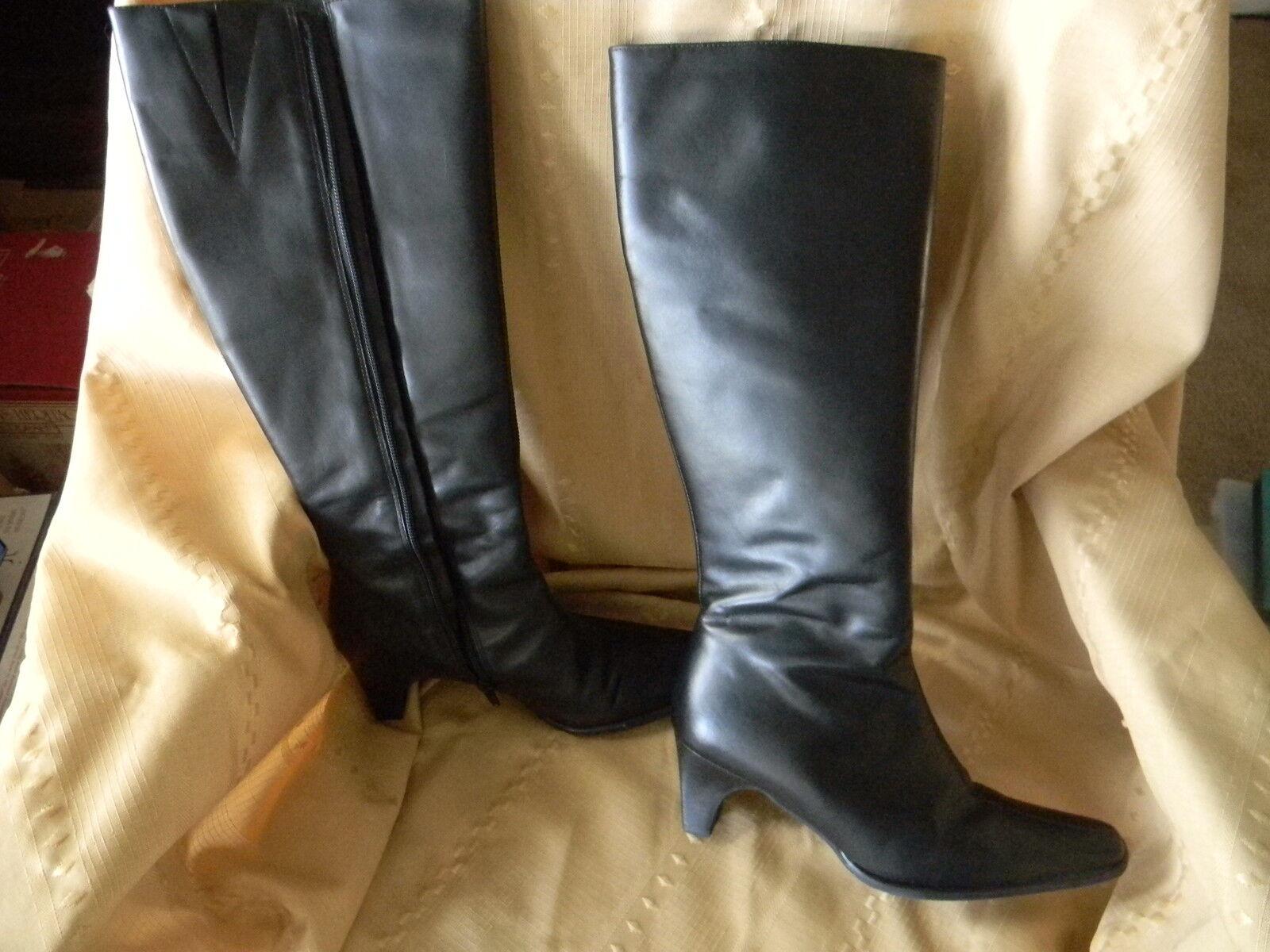 tribeca studios women's leather knee high  boots size 6 m  brazil