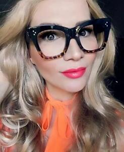 d7462a6316e6 Details about Retro Square Cat EYE Catherine Large Aviator Big Oversized  Eyeglasses Frames L