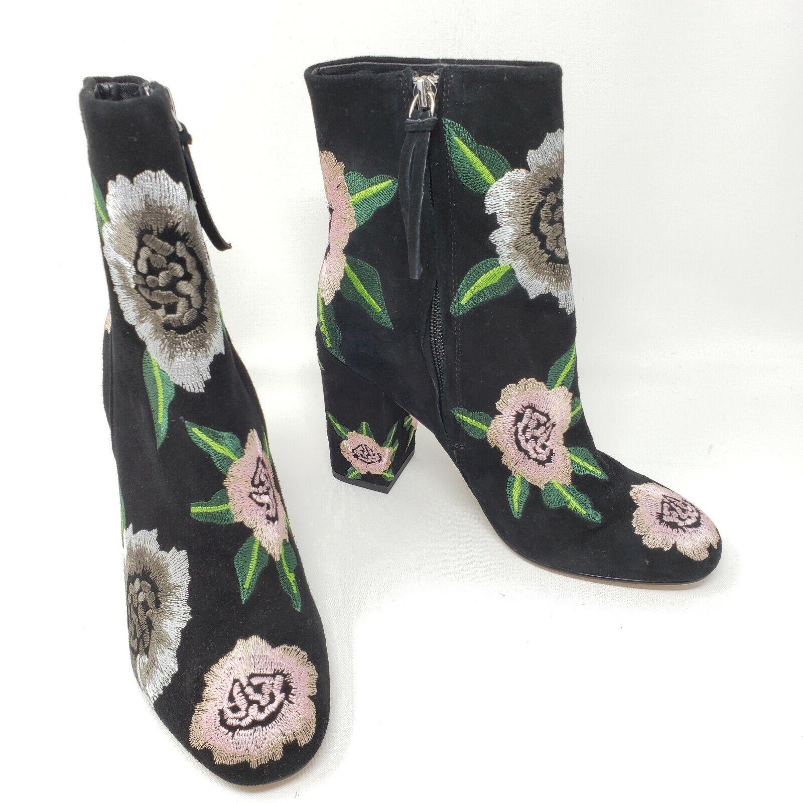 295 Rebecca Minkoff Noir Noir Noir Rose Floral Brodé Bryce cheville Bottes Sz 6.5 NEW 7100c0