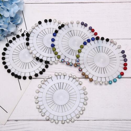 30Pcs Colorful Wheel Ball Hijab Scarf Pin Snag-Free Long Sparkle Muslim Brooc/_ZT