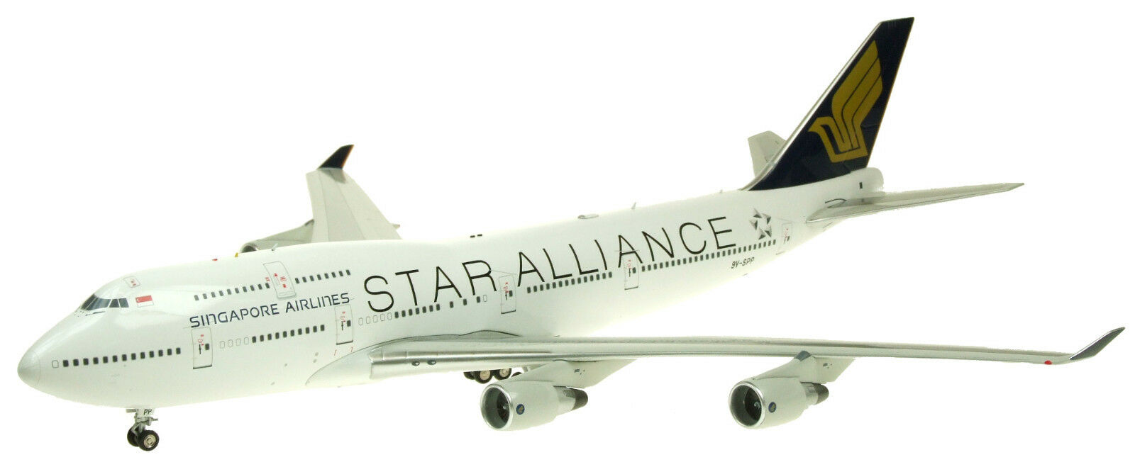 Jfox JF7474031 1 200 Singapore Airlines Star Alliance 747-412 9V-SPP con supporto
