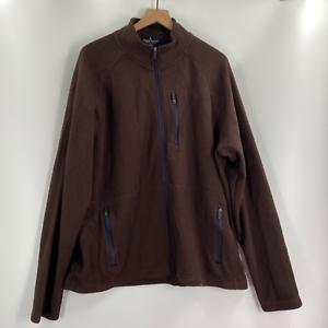 Tailor-Vintage-Mens-Brown-Long-Sleeve-Full-Zip-Fleece-Jacket-Size-XL-XXL